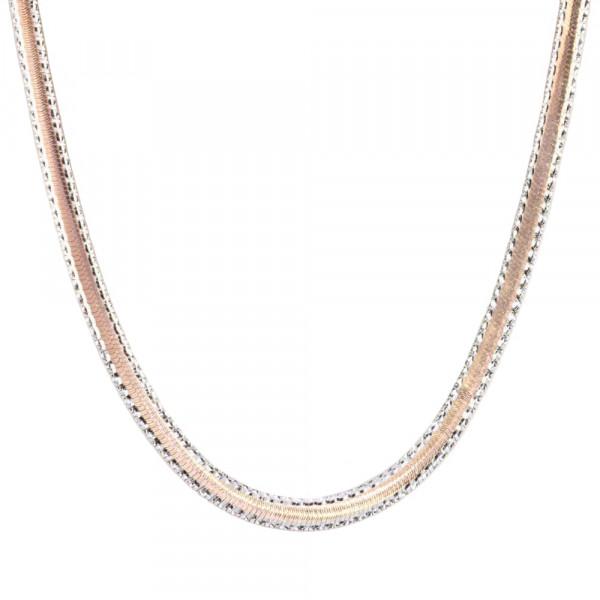 Damen Armband Armkette echt Silber 925 bicolor rose' Länge 18 cm