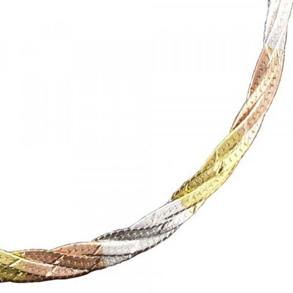 Damen Armband echt Silber 925 tricolor Zopfmuster