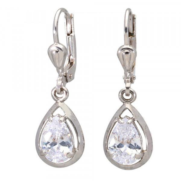 Damen Ohrringe Ohrhänger echt Silber 925 rhodiniert mit weißen Zirkonia