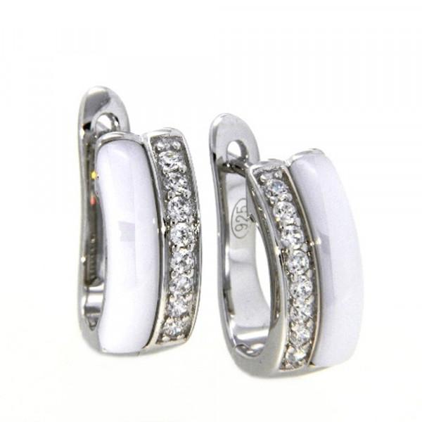Damen Ohrringe Creolen Klappcreolen echt Silber 925 mit weißer Keramik
