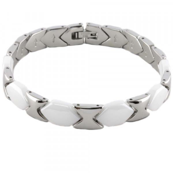 Schmuck Damen Armband Armkette Keramik Ceramic weiß Edelstahl