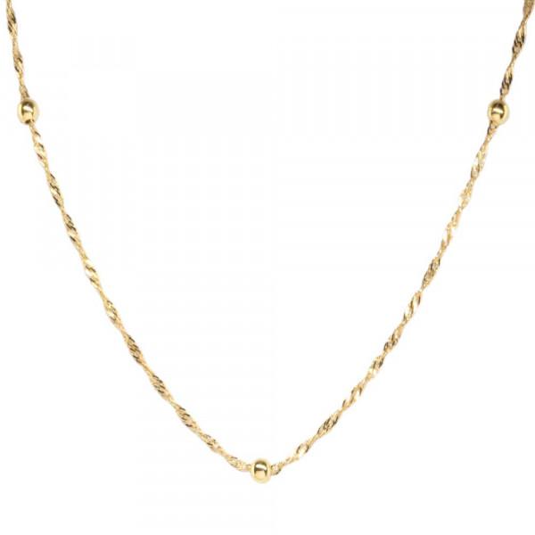 Damen Collier Kette Halskette echt Gold Legierung 333, 8 kt Singapur mit Kugel