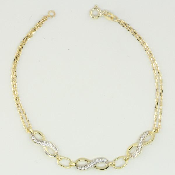 Damen Infintity Armband Armkette echt Gold 333 8 kt Länge 18,5 cm zweireihig