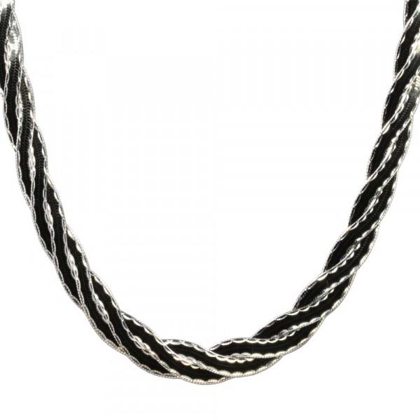 Damen Halskette Kette Collier Zopfkette echt Silber 925 geschwärzt