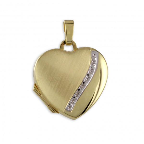 Schmuck Damen Foto Bild Anhänger Medaillon Amulett Herz echt Gold 333 8 ct