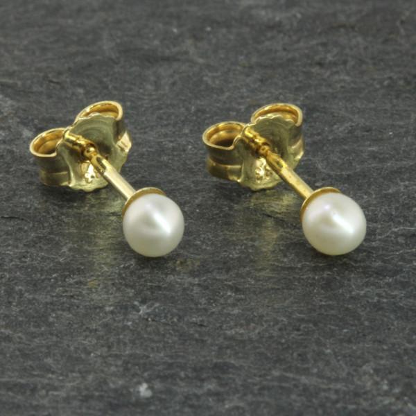 Damen Ohrringe Ohrstecker echt Gold 333 (8 kt) mit Süßwasserperle