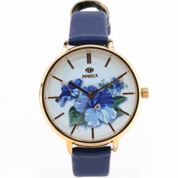 Damenuhr Armbanduhr von Marea mit floralen Zifferblattmotiv