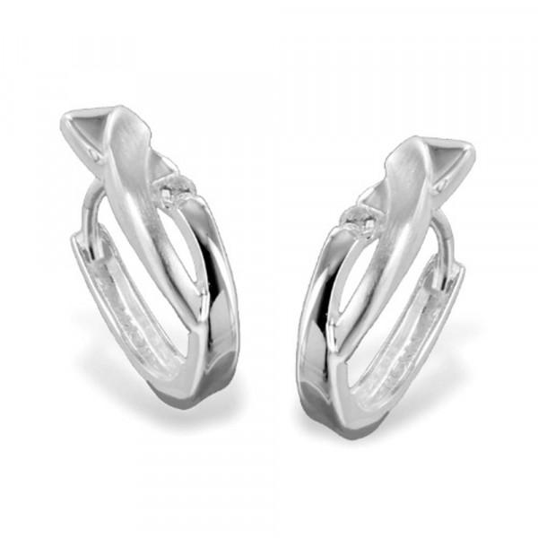 Damen Ohrringe Creolen Klappcreolen echt Silber 925 mit Zirkonia
