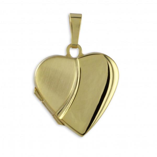 Damen Anhänger Medaillon Amulett Herz echt Gold 333 (8 kt)