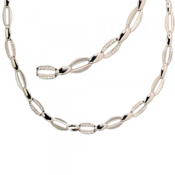 Damen Halskette Collier echt Silber 925 rhodiniert mit Zirkonia