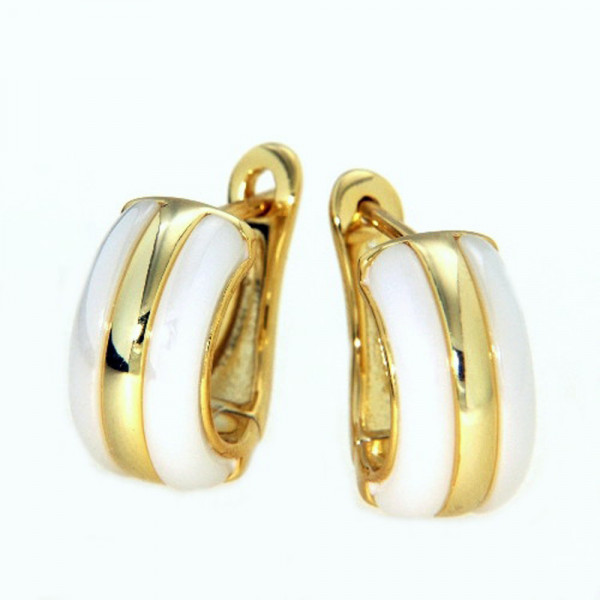 Ohrringe Creolen Klappcreolen echt Silber 925/vergoldet mit weißer Keramik