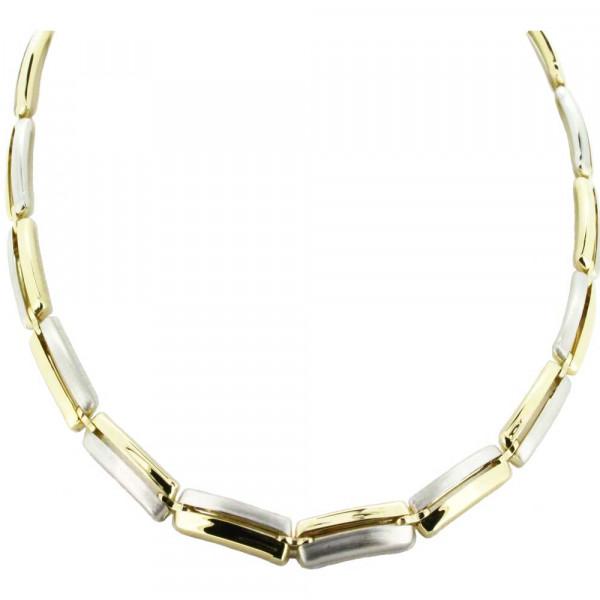 Damen Halskette Kette Collier echt Silber 925 Sterlingsilber bicolor 45 cm lang