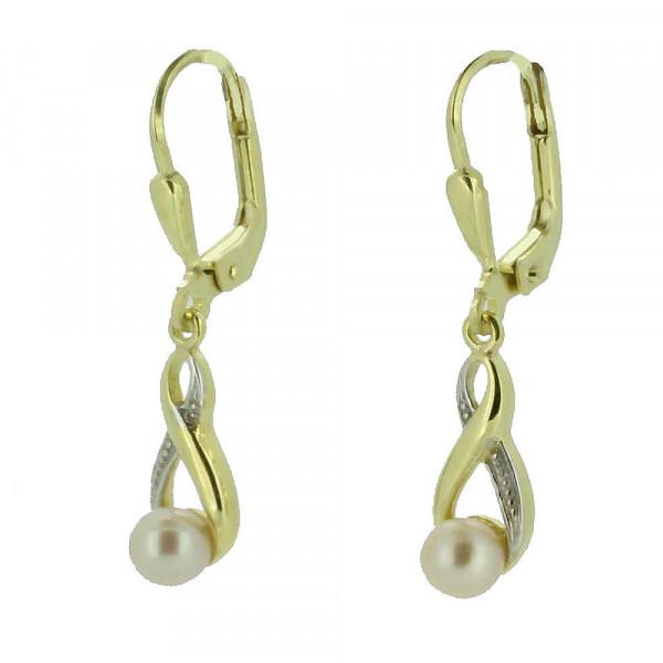 Damen Ohrringe Ohrhänger Ohrpendel 8kt echt Gold 333 Perle