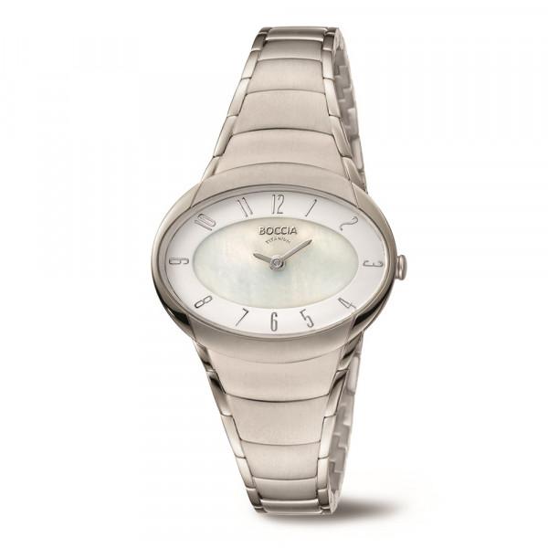 ovale Damenuhr Armbanduhr aus Titan Titanium von BOCCIA TITANIUM Modell 3255-03