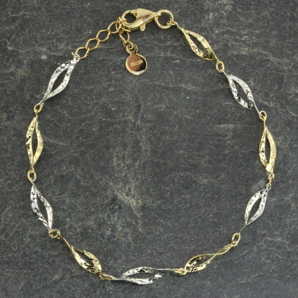 Damen Armband Armkette echt Gold 333 (8 kt) in bicolor 17 + 2 cm lang