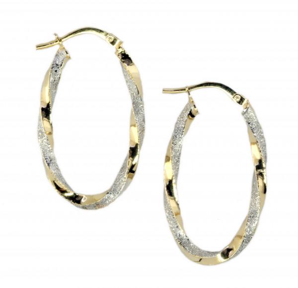 Damen Ohrringe Creolen Bügelcreolen bicolor echt Gold 375 (9 kt)