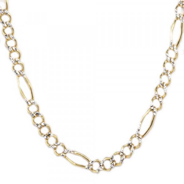Kette Collier Halskette Figaro echt Gold 333 (8kt) in bicolor 42 cm lang