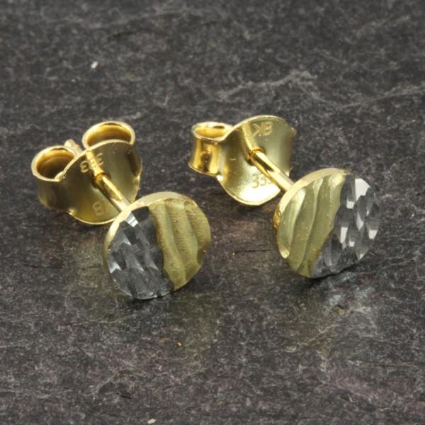 Damen Ohrringe Ohrstecker echt Gold 333 (8 kt) in bicolor diamantiert