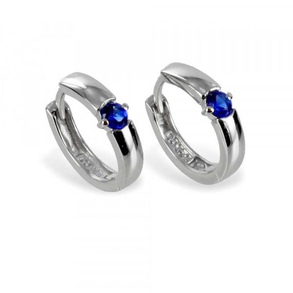 Damen Kinder Ohrringe Creolen Klappcreolen echt Silber 925 mit Zirkonia blau