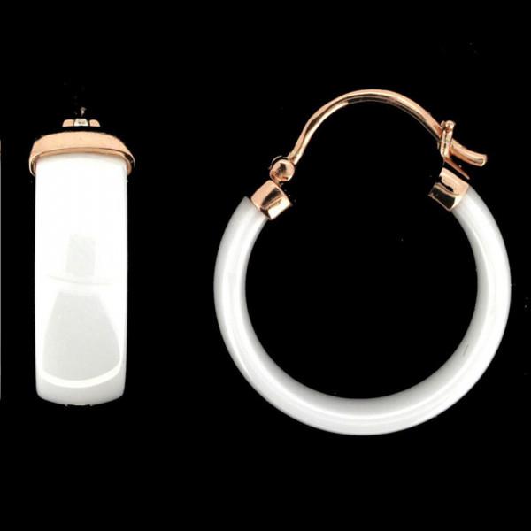 Damen Ohrringe Creolen Bügelcreolen echt Silber 925 rose' und weiße Keramik