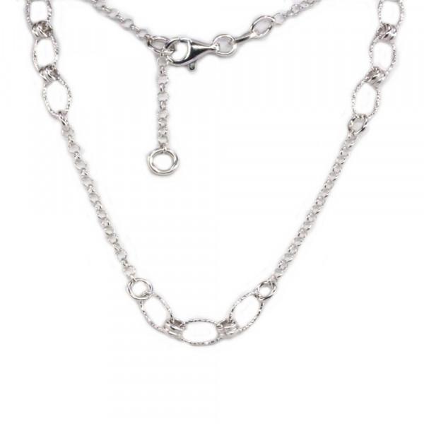 Damen Fußkette Fusskettchen echt Silber 925 rhodiniert 25 cm verstellbar
