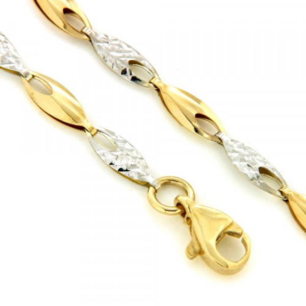 Schmuck Armband Armkette echt Gold 333 19 cm bicolor 8 kt
