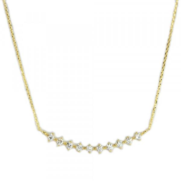 Damen Collier Halskette mit Zirkonia echt Gold 333 8 ct Länge 45 cm verstellbar