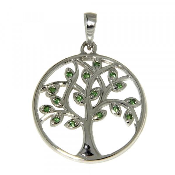 Damen Ketten Anhänger echt Silber 925 rhodiniert Lebensbaum mit grünen Zirkonia