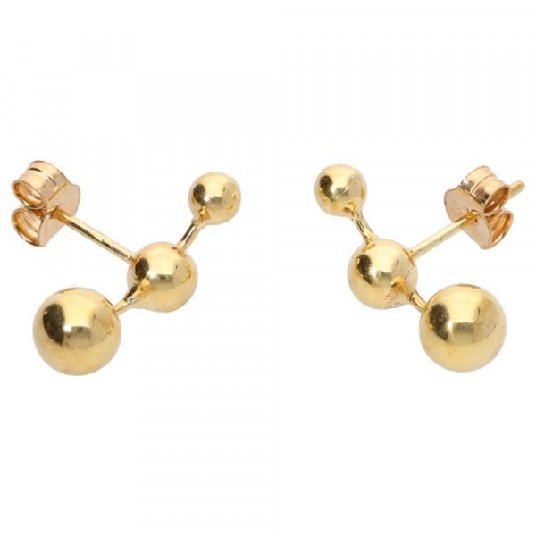 Damen Ohrringe Ohrstecker mit Kugeln echt Gold 333 (8 kt)