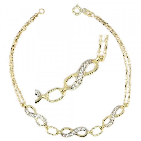 Damen Infintity Armband Armkette echt Gold 333 8 kt 18,5 cm lang zweireihig