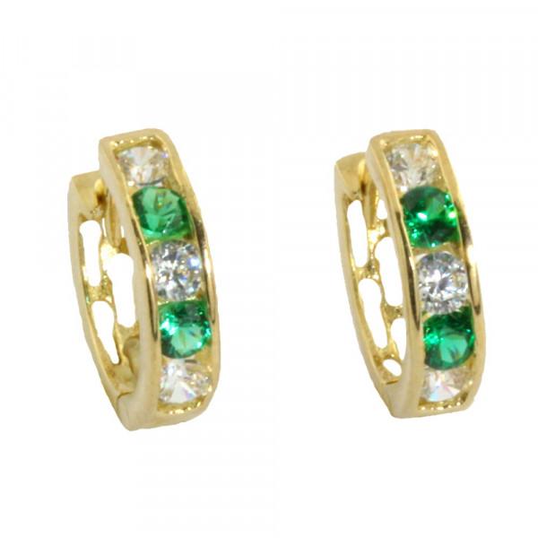 Damen Creolen Klappcreolen echt Gold 333 mit Zirkonia in grün und weiß