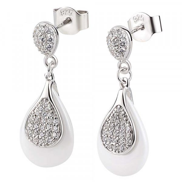 Damen Ohrringe Ohrstecker Ohrhänger echt Silber 925 rhodiniert und weiße Keramik