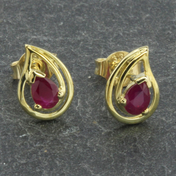Damen Ohrringe Ohrstecker echt Gold 333 (8 kt) mit echten Rubin