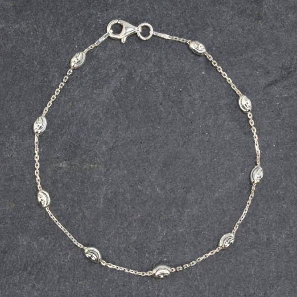 Armkette Armband echt Silber 925 mit ellipsenförmigen Kugeln in 19 cm