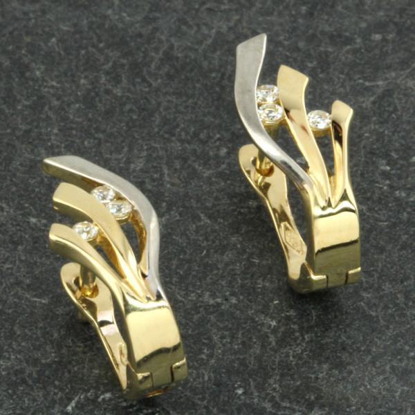 Ohrringe Creolen Klappcreolen echt Gold 585 (14kt) in bicolor mit Zirkonia