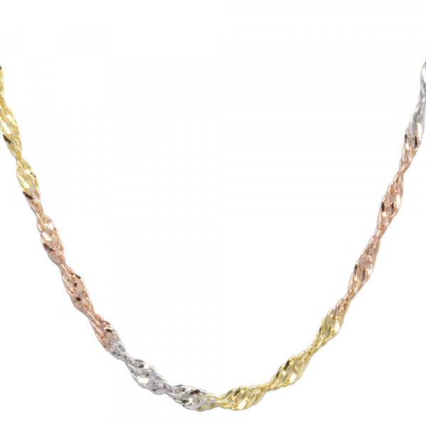 Damen Collier Halskette Kette echt Gold Legierung 333, 8 kt Singapur dreifarbig