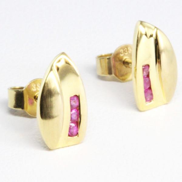 Damen Ohrringe Ohrstecker echt Gold 8 kt 333 Rubin