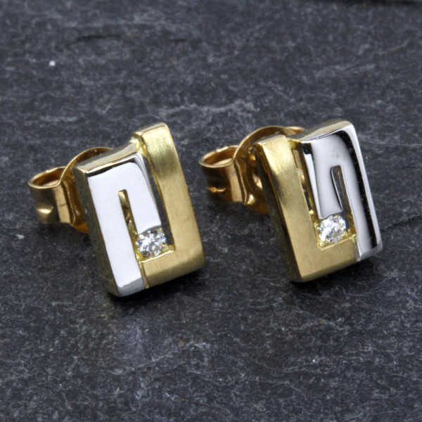 Damen Ohrringe Ohrstecker echt Gold 333 (8 kt) bicolor mit Zirkonia