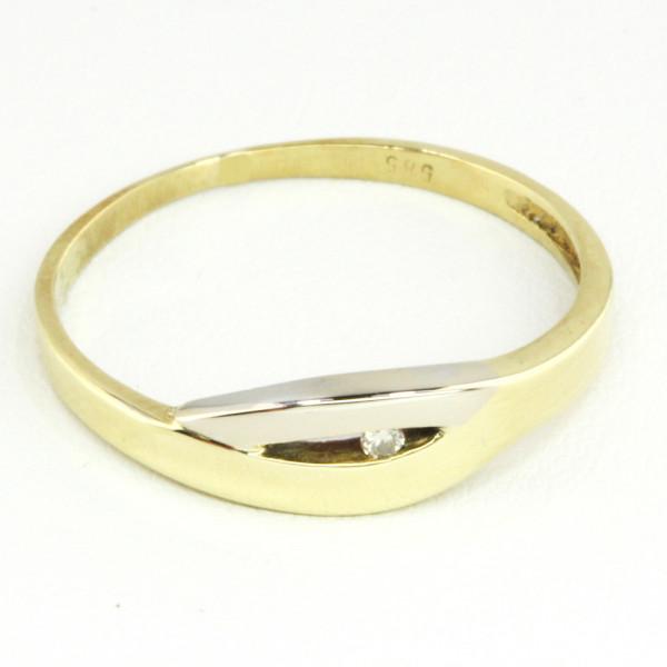 Damenring echt Gold 585 (14 kt) bicolor mit Brillant 0,11 ct P1/W Größe 56