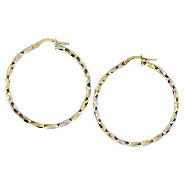 Damen Ohrringe Creolen Bügelcreolen echt Gold 375 (9 kt) in tricolor