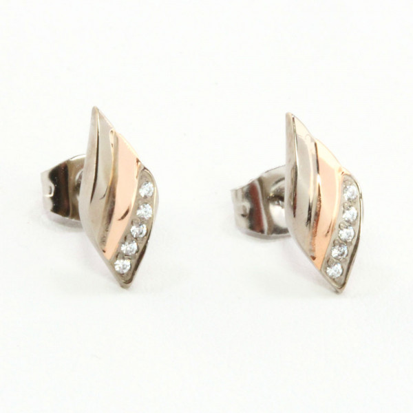 Damen Ohrringe Ohrstecker Titan Titanium zweifarbig rose' mit Zirkonia