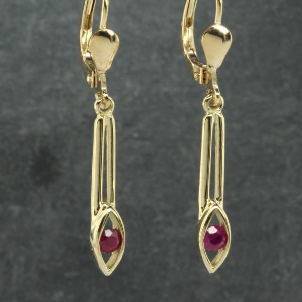 Damen Ohrringe Ohrhänger echt Gold 333 ( 8kt ) mit Rubin