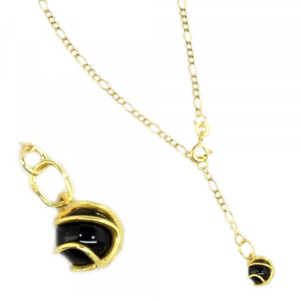 Fußkette Fußkettchen echt Gold 333 8 ct Länge 25 cm mit Onyx