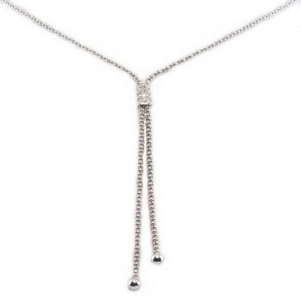 Damen Halskette Kette Collier Y-Collier echt Silber 925 Sterlingsilber rhodiniert