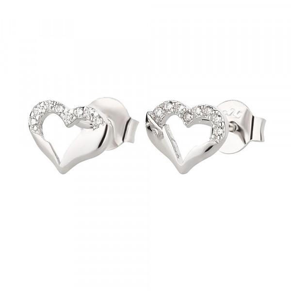 Damen Ohrringe Ohrstecker echt Silber 925 rhodiniert Motiv Herz