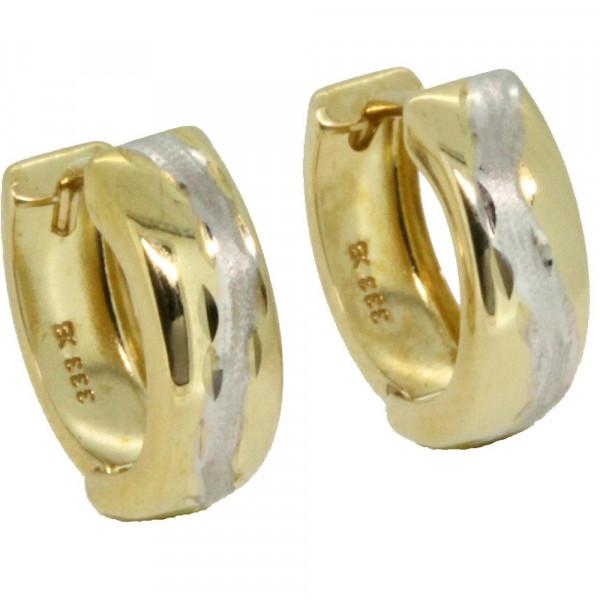 Damen Schmuck Ohrringe Creolen Klappcreolen bicolor echt Gold 333 8 kt