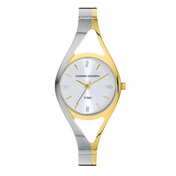 Damenuhr Armbanduhr aus Titan Titanium von Adora Design in bicolor