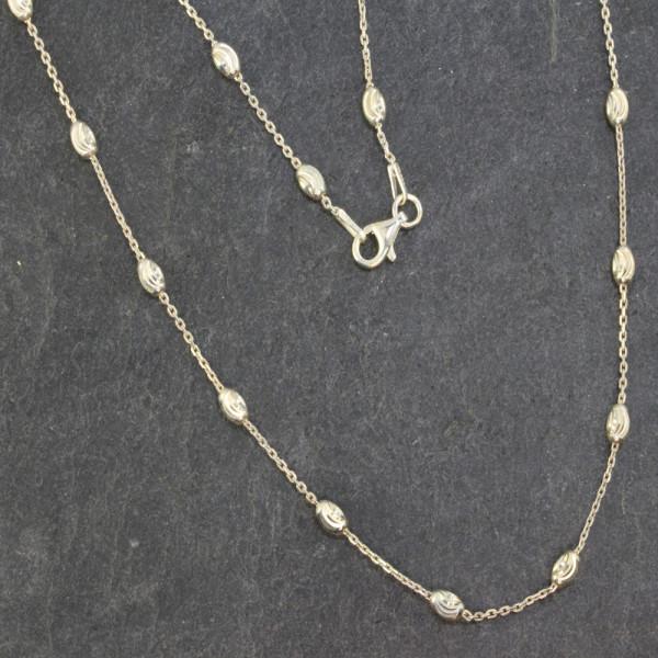 Halskette Kette Collier echt Silber 925 mit ellipsenförmigen Kugeln in 45 cm