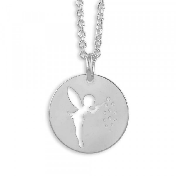 Damen Halskette Kette Collier Motiv Fee echt Silber 925 Sterlingsilber rhodiniert