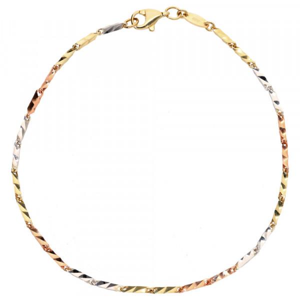 Damen Armband Armkette echt Gold 333 (8 kt) in tricolor 19 cm lang